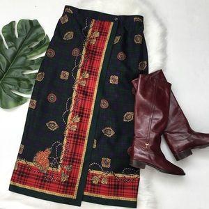 Talbots Faux Wrap Plaid Midi Skirt 100% Silk 6